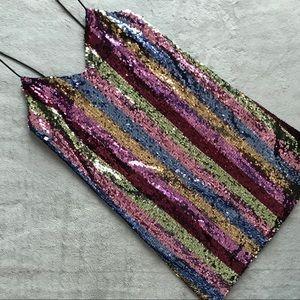 ASOS Stripe Sequin Rainbow Mini Cami Party Dress